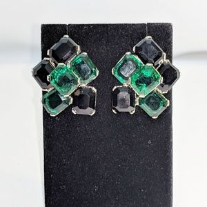Black & Green Emerald Cut Dressy Earrings